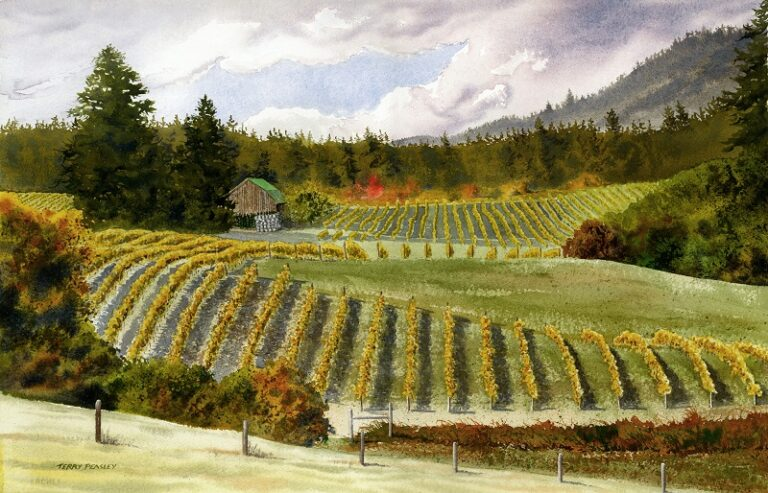 A painting of a vineyard