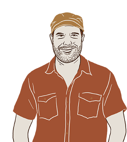 A cartoon of David Bates