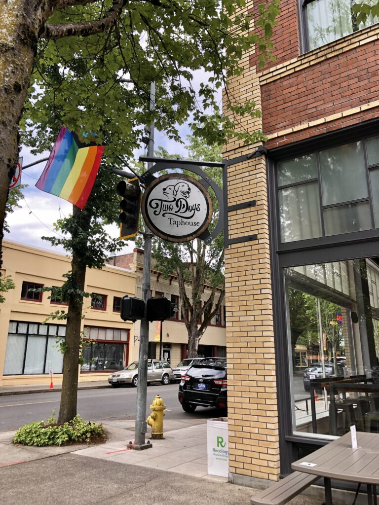 Two Dogs Taphouse displays their pride flag.