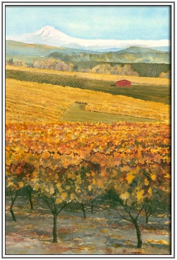 A painting of yellow leafed vineyards with a red barn in the background.