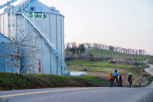 A group of cyclists ride past a grain silo with a vineyard in the background.