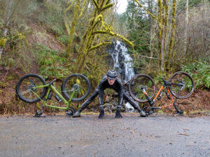 Bikes and Cyclist in front of Waterfall